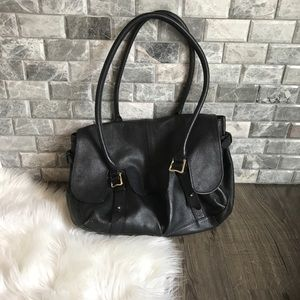 Ridley London black leather satchel shoulder bag